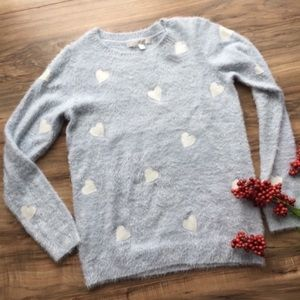 Lauren Conrad Heart Patched Blue Fuzzy Sweater